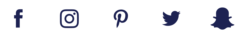 Facebook, Instagram, Pinterest, Twitter, Snapchat icons